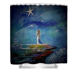 Little Wishes By The Sea Shower Curtain by Leslie Allen