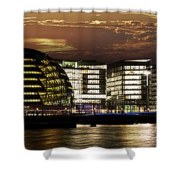 London City Hall At Night Shower Curtain by Elena Elisseeva