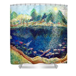Lotus Lake Shower Curtain by Ashleigh Dyan Bayer