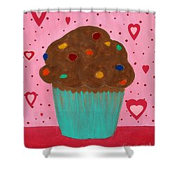 M And M Cupcake Shower Curtain by Barbara Griffin