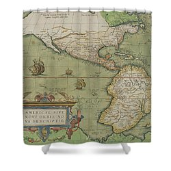 Map Of North And South America Shower Curtain by Abraham Ortelius