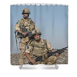 Members Of The British Army On Foot Shower Curtain by Andrew Chittock