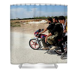Men From The Free Syrian Army Shower Curtain by Andrew Chittock