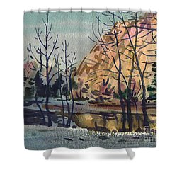 Shower Curtain featuring the painting Merced River In Winter by Donald Maier