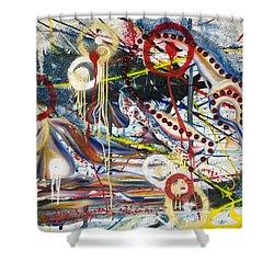 Metronomes Shower Curtain by Sheridan Furrer
