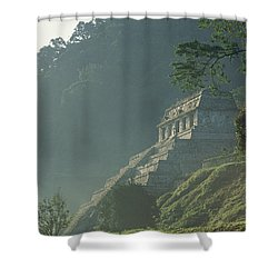 Misty View Of The Temple Shower Curtain by Kenneth Garrett