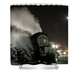 Moon And Steam Shower Curtain by Tim Mulina