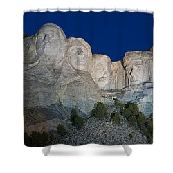 Mount Rushmore Nightfall Shower Curtain by Steve Gadomski