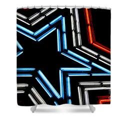 Neon Star Shower Curtain by Darren Fisher