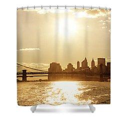 New York City Sunset Shower Curtain by Vivienne Gucwa