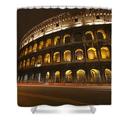 Night Lights Of The Colosseum Rome Shower Curtain by Trish Punch