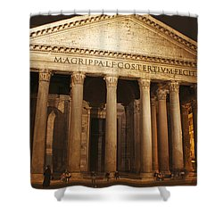 Night Lights Of The Pantheon In Piazza Shower Curtain by Trish Punch