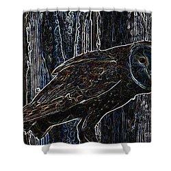 Night Owl - Digital Art Shower Curtain by Carol Groenen