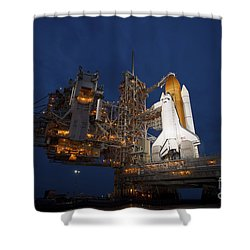 Night View Of Space Shuttle Atlantis Shower Curtain by Stocktrek Images