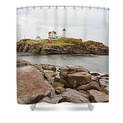 Nubble Lighthouse Shower Curtain by Jack Schultz