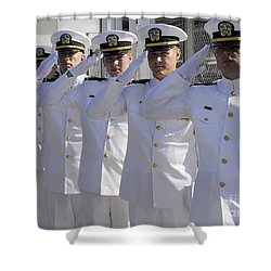 Officers Render Honors During A Change Shower Curtain by Stocktrek Images