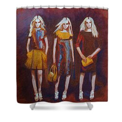 Shower Curtain featuring the painting On The Catwalk by Phyllis Howard