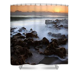 Overwhelmed By The Sea Shower Curtain by Mike  Dawson