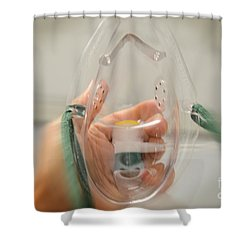 Oxygen Mask Shower Curtain by Photo Researchers, Inc.
