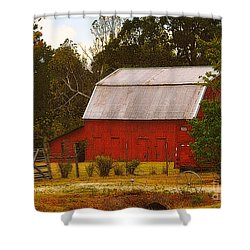Shower Curtain featuring the photograph Ozark Red Barn by Lydia Holly