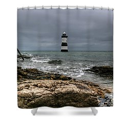 Penmon Point Shower Curtain by Adrian Evans