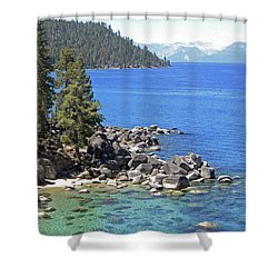 Pines Boulders And Crystal Waters Of Lake Tahoe Shower Curtain by Frank Wilson