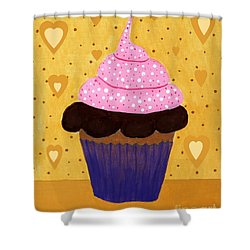 Pink Frosted Cupcake Shower Curtain by Barbara Griffin