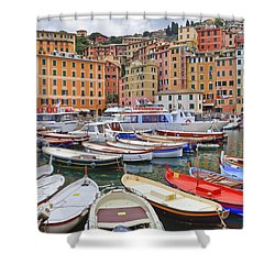 Port Of Camogli Shower Curtain by Joana Kruse
