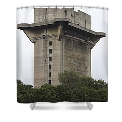 Remains Of Anti-aircraft L-tower Shower Curtain by Richard Roscoe