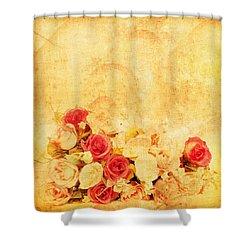 Retro Flower Pattern Shower Curtain