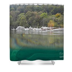 River With Trees Shower Curtain by Mats Silvan