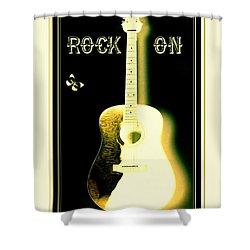 Rock On Guitar Shower Curtain by Danielle  Parent