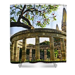 Rotunda Of Illustrious Jalisciences And Guadalajara Cathedral Shower Curtain by Elena Elisseeva
