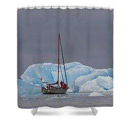 Sail Boat In Laguna San Rafael, Laguna Shower Curtain by Peter Langer