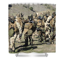 Sailors Dressed In Full Mission Shower Curtain by Stocktrek Images