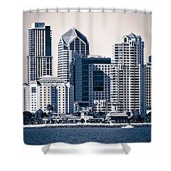San Diego Skyline Shower Curtain by Paul Velgos