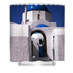 Shower Curtain featuring the photograph Santorini Church Greece by Colette V Hera  Guggenheim