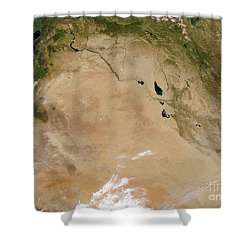 Satellite View Of The Middle East Shower Curtain by Stocktrek Images