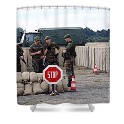 Scenery Of A Checkpoint Used Shower Curtain by Luc De Jaeger