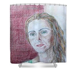 Shower Curtain featuring the drawing Self Portrait by Anna Ruzsan