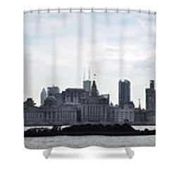 Shanghai Bund Panorama - Daytime Shower Curtain
