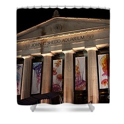 Shedd Aquarium With Jellyfish Exhibit Shower Curtain by Paul Velgos