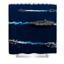 Ships From The John C. Stennis Carrier Shower Curtain by Stocktrek Images