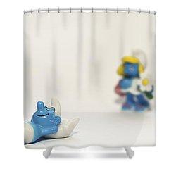 Smurf Figurines Shower Curtain by Amir Paz