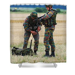 Soldiers Of The Belgian Army Shower Curtain by Luc De Jaeger
