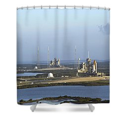Space Shuttle Atlantis And Endeavour Shower Curtain by Stocktrek Images