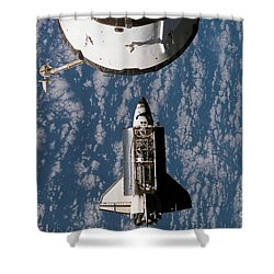Space Shuttle Atlantis Approaching Shower Curtain by Stocktrek Images
