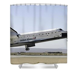 Space Shuttle Atlantis Prepares Shower Curtain by Stocktrek Images