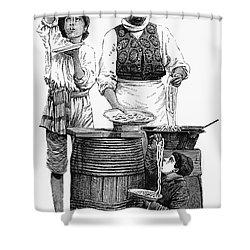 Spaghetti Vendor Shower Curtain by Granger