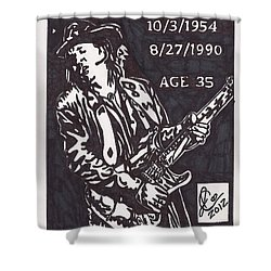 Shower Curtain featuring the drawing Stevie Ray Vaughn by Jeremiah Colley